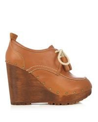 See By Chloé | Brown Lace-up Leather Wedge Shoes | Lyst
