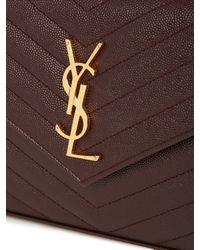 Saint Laurent | Brown Monogram Envelope Quilted Leather Cross-Body Bag | Lyst