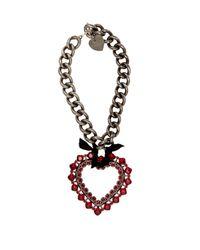 Lanvin - Metallic Crystal-embellished Heart Pendant Necklace - Lyst