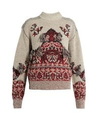 Toga | Gray Rug-jacquard High-neck Sweater | Lyst