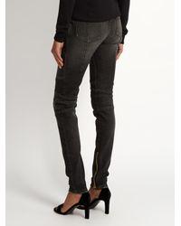Balmain - Gray Skinny-leg Biker Jeans - Lyst