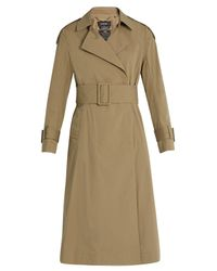 MUVEIL - Blue Pleated-back Cotton-blend Trench Coat - Lyst