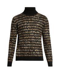 Saint Laurent | Brown Leopard-intarsia Mohair-blend Sweater for Men | Lyst