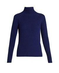 Vanessa Bruno | Blue Franja Roll-neck Ribbed-knit Sweater | Lyst