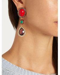Miu Miu - Red Crystal-embellished Clip-on Drop Earrings - Lyst