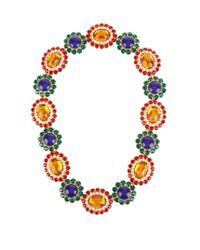 Miu Miu | Multicolor Flower Crystal-embellished Necklace | Lyst