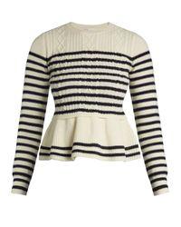 RED Valentino | Blue Striped Wool Peplum Sweater | Lyst