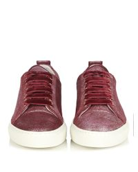 Lanvin - Red Metallic-leather Low-top Trainers - Lyst