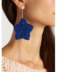 Lucy Folk - Blue Starry Eyed Crochet-flower And Pearl Earrings - Lyst