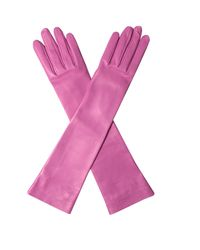 Gucci   Pink Elbow-length Leather Gloves   Lyst