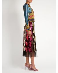 Gucci - Multicolor Sequin-embellished Wave Tulle Midi Skirt - Lyst