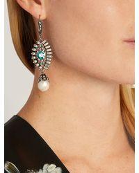 Alexander McQueen - Blue Crystal And Pearl Embellished Eye Earrings - Lyst