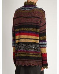 Etro - Multicolor Funnel-neck Distressed-hem Wool-blend Sweater - Lyst