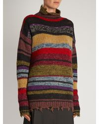 Etro - Multicolor Funnel-neck Distressed-hem Wool-blend Sweater - Lyst