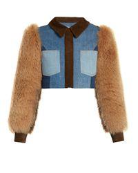 Sonia Rykiel | Blue Fur and Suede-Panel Cropped Denim Jacket | Lyst