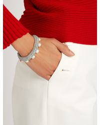 Lucy Folk - Metallic Pearl Diver Crochet And Pearl Bracelet - Lyst