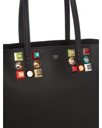 Fendi - Black Roll Embellished Leather Tote - Lyst