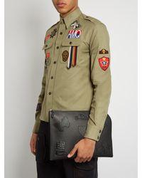 Alexander McQueen - Black Badge-appliqué Leather Pouch for Men - Lyst