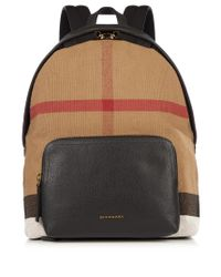 Burberry | Brown Canvas Check And Leather Backpack for Men | Lyst
