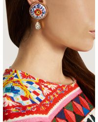 Dolce & Gabbana - Blue Majolica Crystal-embellished Earrings - Lyst