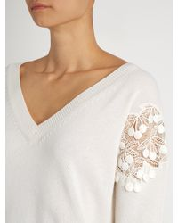 Chloé - White Lace-insert V-neck Wool And Cashmere-blend Sweater - Lyst