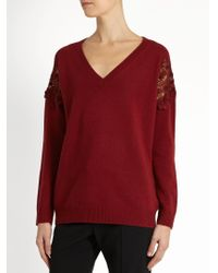 Chloé - Blue Lace-insert Wool And Cashmere-blend Sweater - Lyst