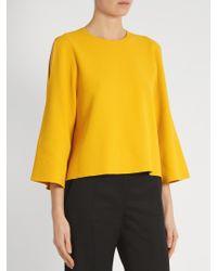 Stella McCartney - Yellow Round-neck Cut-out Sleeve Sweater - Lyst