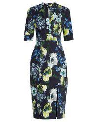 Erdem | Blue Davina Hasu Night-print Cotton-blend Twill Dress | Lyst