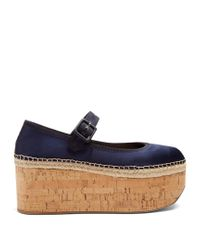 Miu Miu | Blue Mary-jane Satin Flatform Pumps | Lyst