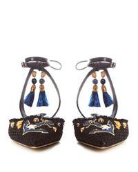 Dolce & Gabbana   Blue Anchor-appliqué Embellished Raffia Flats   Lyst
