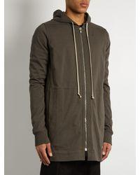 Rick Owens | Gray Hooded Zip-through Cotton Sweatshirt for Men | Lyst