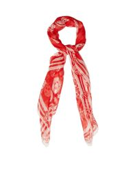 Alexander McQueen | Red Skull And Badge Silk-chiffon Scarf | Lyst