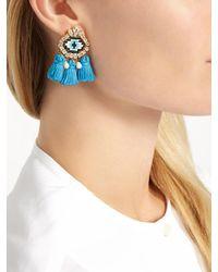 Shourouk - Blue Pompon Eye Earrings - Lyst
