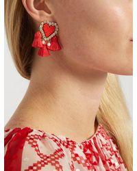 Shourouk | Red Pompon Heart Clip-on Earrings | Lyst