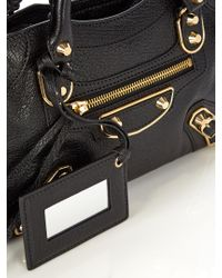 Balenciaga - Black Classic Metallic Edge City Mini Leather Bag - Lyst