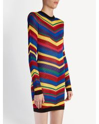 Balmain - Blue Chevron-striped Knitted Mini Dress - Lyst