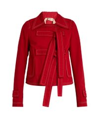 N°21 Red Tie-front Cotton And Linen-blend Jacket