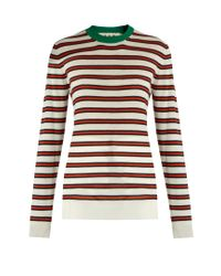 Marni | Red Striped Contrast-collar Cashmere-blend Sweater | Lyst