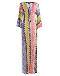 Missoni | Pink Lace-up Zigzag-knit Kaftan | Lyst