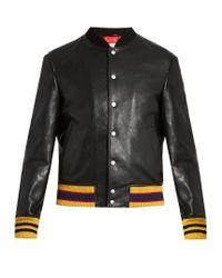 Gucci | Black Tiger Bead-embellished Leather Bomber Jacket for Men | Lyst