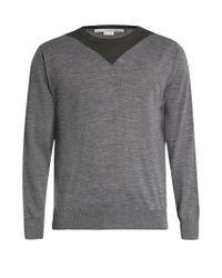 Stella McCartney | Gray Two-tone Crew-neck Wool Sweater for Men | Lyst