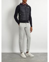 Moncler - Blue Maglia Knit-back Quilted-down Gilet for Men - Lyst