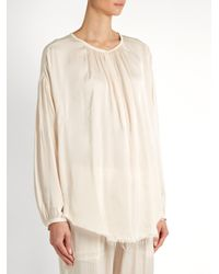 Raquel Allegra | Natural Round-neck Raw-hem Satin Blouse | Lyst