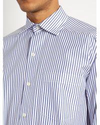 Balenciaga | Blue Striped Cropped Cotton-poplin Shirt for Men | Lyst