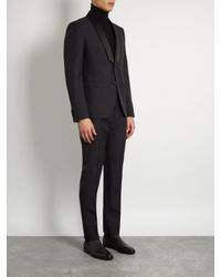 Valentino - Black Shawl-collar Wool And Mohair-blend Tuxedo for Men - Lyst