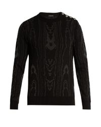 Balmain | Black Moiré-effect Cotton-blend Knit Sweater for Men | Lyst