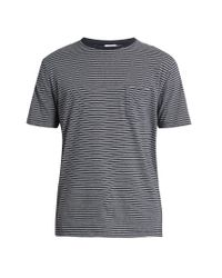 Sunspel - Blue Striped Cotton-jersey T-shirt for Men - Lyst