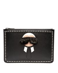 Fendi - Black Karlito Fur-trimmed Leather Pouch - Lyst