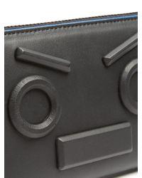 Fendi Black No Words Zip-around Leather Wallet