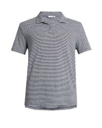 Onia   Blue Shaun Striped Linen-blend Polo Shirt for Men   Lyst
